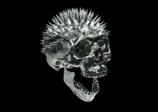 Metallic Scratched Rusty Skull with clipping path  in bl Royalty Free Stock Image