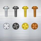 Metallic screw set. Royalty Free Stock Photography