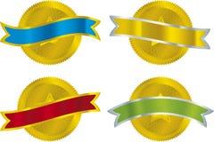 Metallic seals. Vector illustration of four metallic seals with ribbon Stock Image