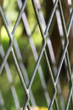 Metallic seamless fence and the green nature on the background Stock Images