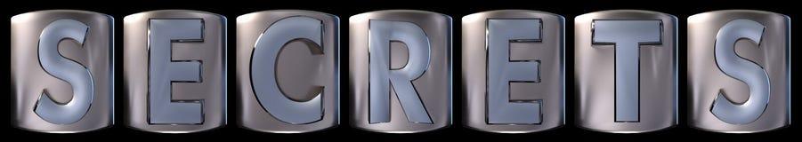 Metallic secrets word. Metallic blue silver secrets word realistic 3d rendered on black background Stock Image