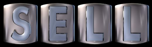 Metallic sell word. Metallic blue silver sell word realistic 3d rendered on black background Stock Photography