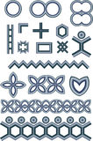 Metallic shapes. Metallic style shapes illustrations including symbolic people and floral shapes Royalty Free Stock Images