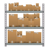 Metallic shelves with cartoon brown boxes. Royalty Free Stock Image