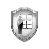 Metallic shield of archiver with filling cabinet Royalty Free Stock Image