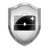 Metallic shield with bag first aid kit. Vector illustration Royalty Free Stock Photos