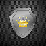 Metallic shield with crown Royalty Free Stock Photo