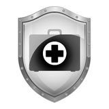 Metallic shield with first aid kit. Vector illustration Royalty Free Stock Images