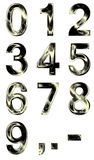 Metallic shining digits from zero to nine Royalty Free Stock Image