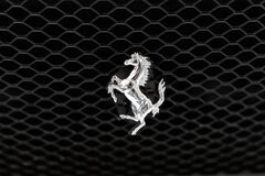 Metallic shiny silver Prancing Horse logo from Ferrari