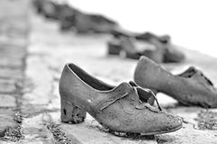 Metallic shoes at Budapest Royalty Free Stock Image