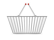 Metallic Shopping Basket Empty Realistic Pictogram Stock Images