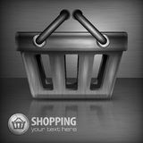 Metallic shopping basket Royalty Free Stock Image