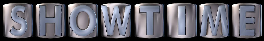 Metallic showtime word. Metallic blue silver showtime word realistic 3d rendered on black background Royalty Free Stock Photo