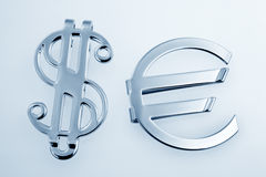 Metallic sign euro and dollar Royalty Free Stock Photos