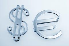 Metallic sign euro and dollar royalty free stock photos