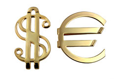 Metallic sign euro and dollar. Metallic golden sign of euro and dollar isolated on wghite background stock photography