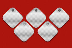 Metallic Sign Message Boards on Red Wall Royalty Free Stock Image