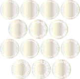 Metallic silver circle labels Stock Images