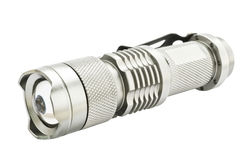 Metallic silver flashlight Stock Photography