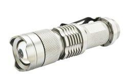 Metallic silver flashlight Stock Photography