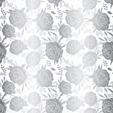 Metallic silver foil folk flowers on white repeating vector background. Scattered shiny vintage florals seamless pattern royalty free illustration