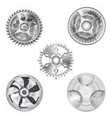 Metallic Silver Industrial Gears - 2 Stock Images