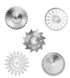 Metallic Silver Industrial Gears - 3 Stock Photography
