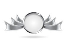 Metallic silver logo element Stock Photo