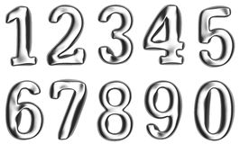 Metallic or silver numbers on white background.  Added clipping path Royalty Free Stock Photography