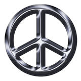 Metallic Silver Peace Sign. Illustration of metallic looking silver peace sign Royalty Free Stock Photography