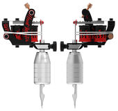 Metallic silver tattoo machine with red fire set Stock Image