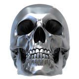 Metallic Skull. 3d render of Metallic Skull. Low front view Royalty Free Stock Photos