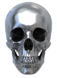 Metallic Skull. 3d render of Metallic Skull. Low front view Royalty Free Stock Images