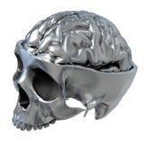 Metallic Skull. 3d illustration of trepanation of the metallic skull with brain stock illustration