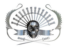 Metallic skull and daggers Stock Photos