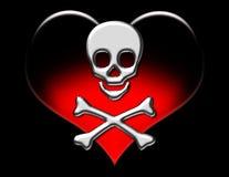 Metallic Skull on Heart. Metallic skull and crossbones over a red gradient heart on a black background stock illustration