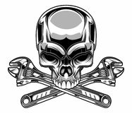 Metallic skull. Vector illustration of metallic skull with wrench Stock Photos