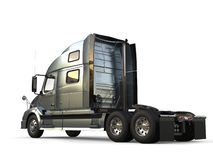 Metallic slate gray modern big semi trailer truck - side view vector illustration