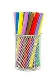 Metallic socket with colorful felt pens Stock Image