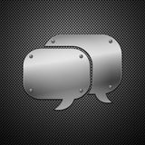 Metallic speech bubble icon. Royalty Free Stock Image
