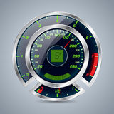 Metallic speedometer with big rev counter Stock Images