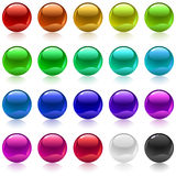 Metallic spheres. Collection of colorful glossy metallic spheres isolated on white Royalty Free Stock Image