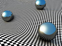 Metallic Spheres On Checker Surface. Abstract Background Stock Photography