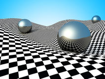 Metallic Spheres On Checker Surface. Abstract Background Stock Photos