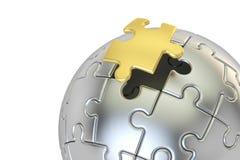Metallic spherical puzzle, 3D rendering Royalty Free Stock Photo