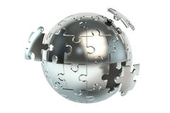 Metallic spherical puzzle 3D Stock Photo