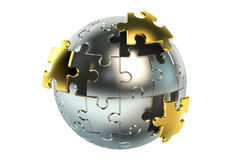Metallic spherical puzzle Royalty Free Stock Photography