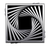 Metallic Square Abstract Design in Black and White. Metallic square repeated and twirled with black fill royalty free illustration