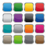 Metallic square buttons. In various colors vector illustration